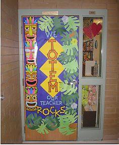 Tiki hut classroom door and wall decor.