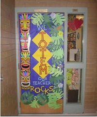 Tiki hut classroom door and wall decor. | Bulletin board ...