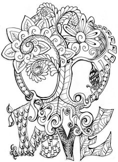Adult colouring in PDF download tree dragonfly henna zen