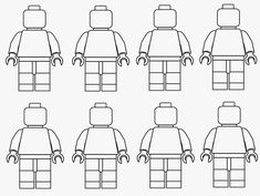 Simple black and white clipart LEGO Minifigures outline