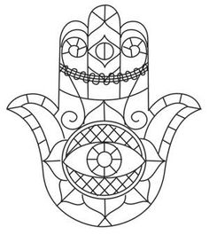 Hamsa pattern. Use the printable outline for crafts