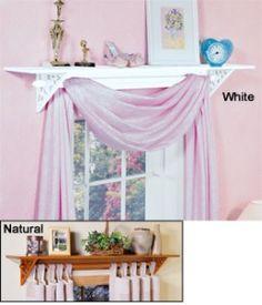 Place A Shelf Over A Window And Use The Shelf Brackets To Hold A