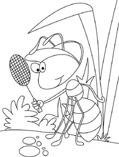 A is for Ant Coloring Page from TwistyNoodle.com