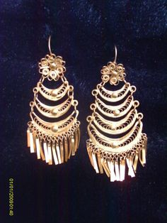 Delicate Filigree Scrollwork Chandelier Earrings Handmade By Mexican S Waterfall Gold Large