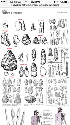 Different types of Projectile points, from the Paleo