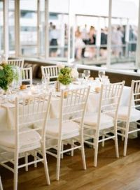White Tiffany Chairs dressed with white ribbons | Wedding ...