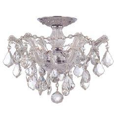Maria Theresa Polished Chrome Three Light Semi Flush Mount With Hand Crystals