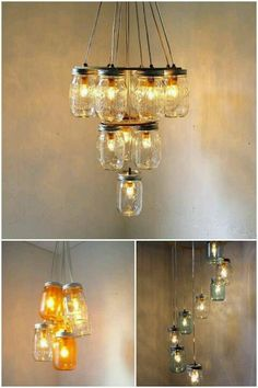 Fabulous Mason Jar Chandelier Created From Outdated Brass With Cloth Shades Marvelous Makeover Reduce Reuse Upcycle Pinterest