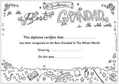 Best Grandpa / Grandma coloring diplomas {Activity Village