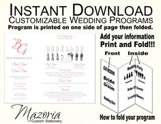 Wedding programs, Silhouette and Templates on Pinterest