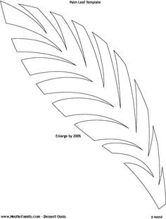 Palm leaf pattern. Use the printable outline for crafts