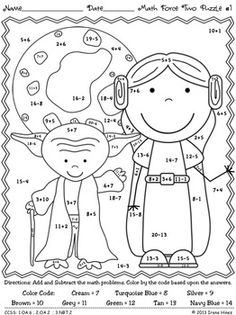 FREE PRINTABLE : Color By Number Addition Worksheet