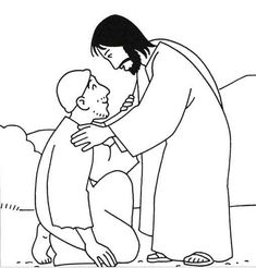 coloring page for Roman centurion asking Jesus to heal