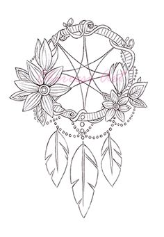 Dream Catcher Printable Coloring Page Adult by