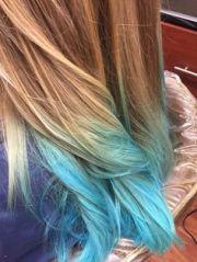 platinum blonde hair with blue