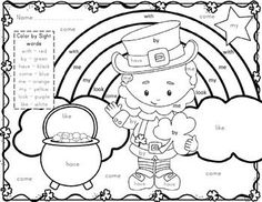 FREE activity has students color by sight words to create