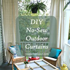 DIY Patio Curtains From Drop Cloths With No Sewing Sun Summer