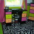 Zebra hot pink lime green orange bedroom teen girls zebra bedroom