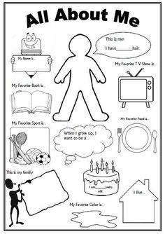 All About Me Worksheet--this would be cute for a time cap