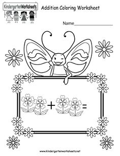 Kindergarten Column Addition Worksheet Printable