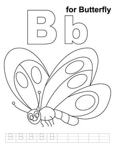 B for bananas coloring page with handwriting practice