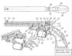Labeled cutaway diagram of flare gun designed by John