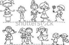 Stick Figure Cuties in black and whiteThis little set of