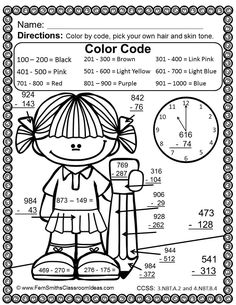 Long division, Color by numbers and Division on Pinterest
