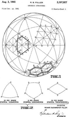 Buckminster Fuller, Geodesic Dome Patent 3197927 Pyrimids