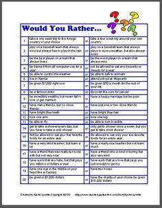 Would You Rather Questions Clean : would, rather, questions, clean, Letter:, Funny, Would, Rather, Questions