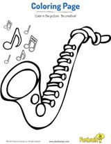 Saxophone pattern. Use the printable outline for crafts