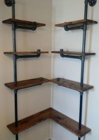 Industrial Iron Pipe Corner Shelf | Build it | Pinterest ...