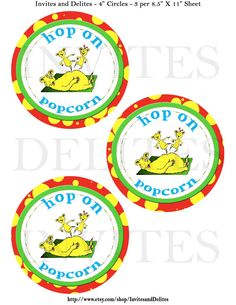 Dr Seuss Suess Hop on Popcorn Tag Topper Label Digital