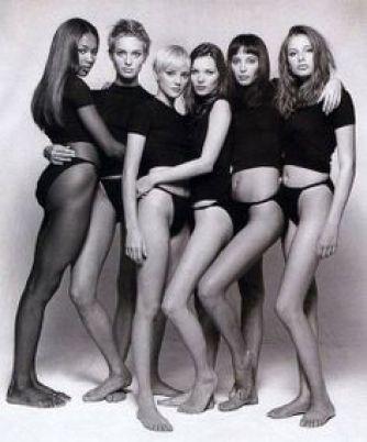 Naomi Campbell, Amber Valleta, x, Kate Moss, Christy Turlington, Bridget Hall.