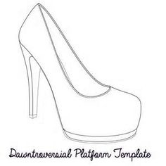 High heel pattern. Use the printable outline for crafts