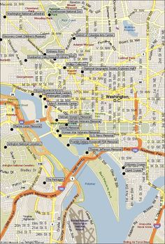free printable washington dc map showing US Capitol and