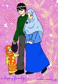 Ana Muslimah Cute Wallpaper Muslim Family Cartoon Children And Dad Daughter
