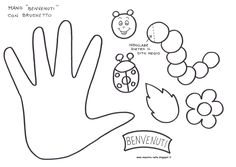 Hand pattern. Use the printable outline for crafts