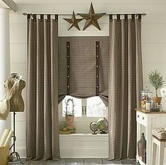 Primitive Decor Black Star Curtains Country Drapes And Panel