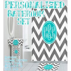 gray white chevron monogram fabric shower curtain - you choose