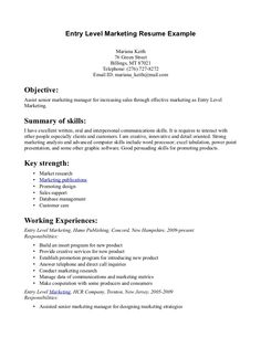 entry level marketing resume objective learn more about video - Marketing Resume Examples Entry Level