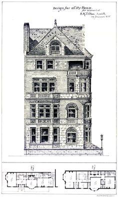 1878 Print Victorian Villa House Architectural Design