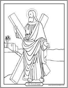 Printable Saint Andrew Prayer card, coloring page, and