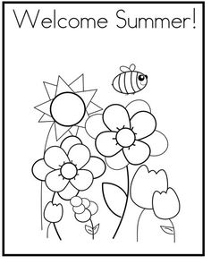 Summer Sun Shines On Beach coloring picture for kids