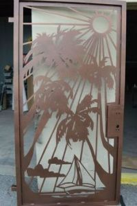 Palm Tree & Turtle Wrought Iron Security Screen Door with ...
