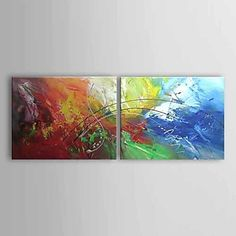 Hand Painted Abstract Two Panels Canvas Oil Painting For Home Decoration