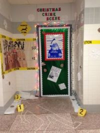 "Christmas door decorating contest. ""Grandma Got Run Over ..."