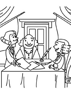 George Washington and cherry tree coloring page for kid