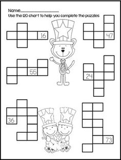 Hundreds Chart Pieces Puzzle: I did these with my 2nd
