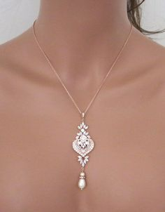 Rose Gold Bridal necklace Rose Gold Bridal earrings Wedding jewelry set Rose gold pearl